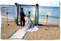 seaglass arch and aisle beach wedding