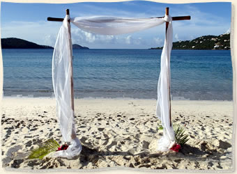 Bamboo arch beach wedding st thomas virgin islands