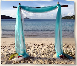 aqua fabric on bamboo arch us virgin islands