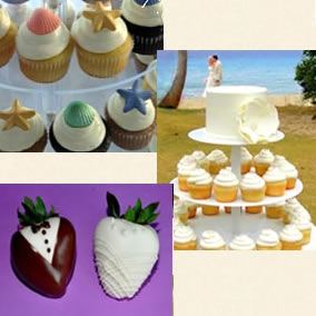 Cupcakes - Chocholate covered strawberries for your island wedding!