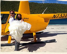 Weddings St Thomas on private island via helicopter