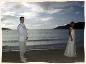 bride and groom at Magens Bay