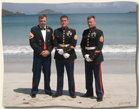 3 very handsome marines at Magens Beach St. Thomas Virgin Islands Wedding